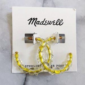 Madewell Yellow Acrylic Ball Hoop Earrings